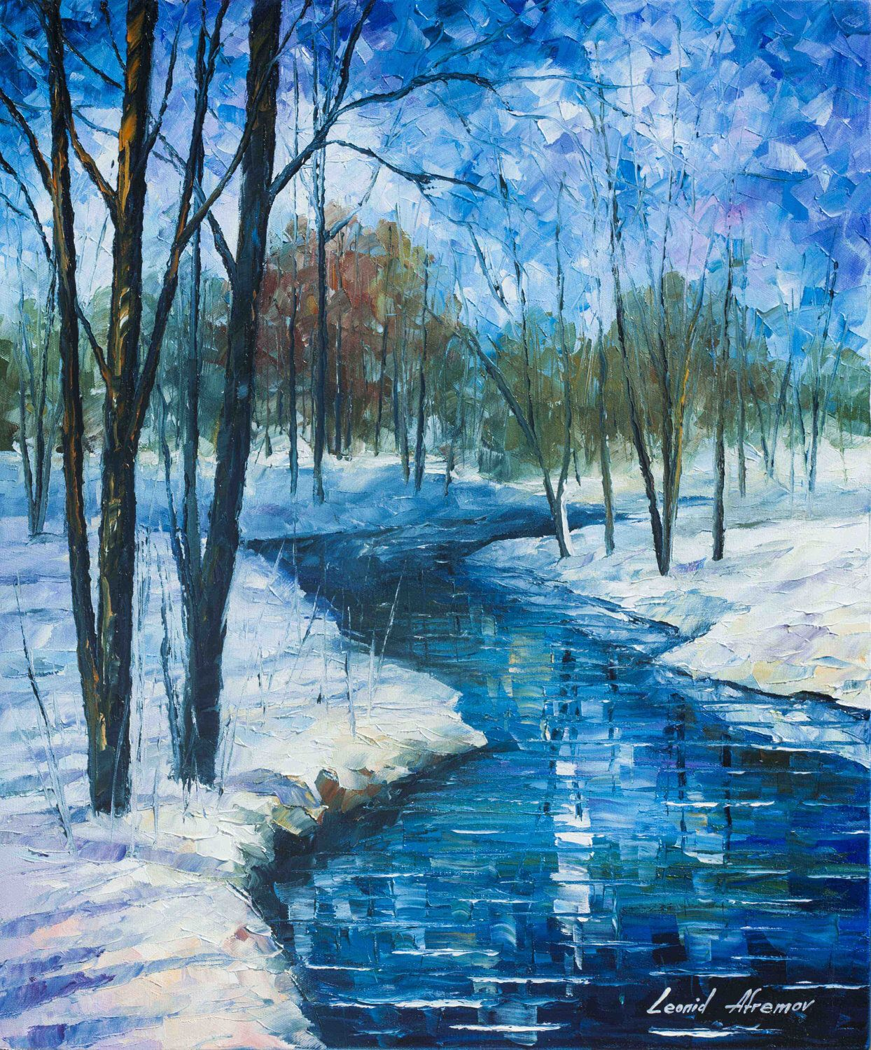 Winter Landscape River Fine Art Painting On Canvas By Leonid Afremov Frozen Stream By Afremovar Winter Landscape Painting Landscape Paintings Winter Painting