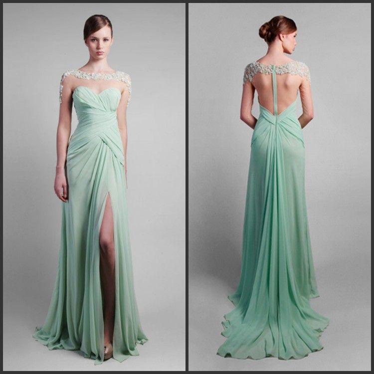 Mint green chiffon long dresses