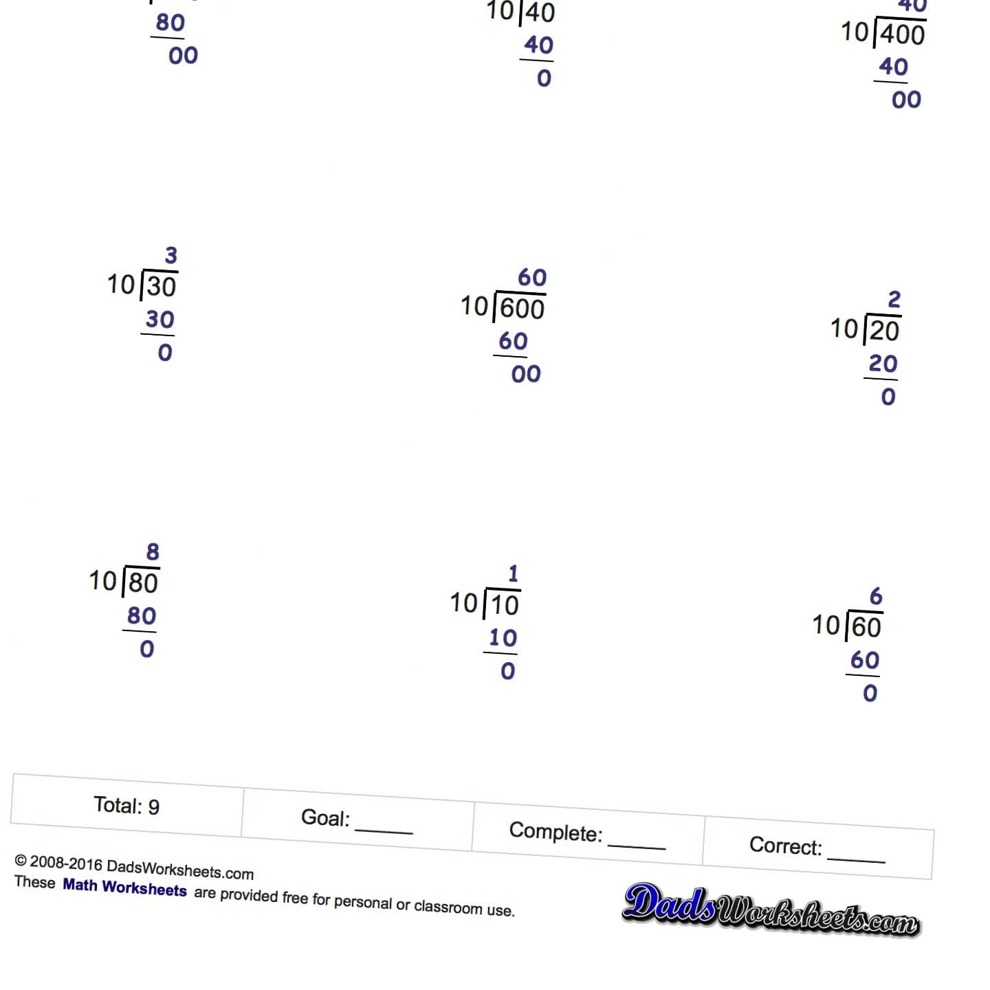 Long division worksheets that do not produce quotients with ...