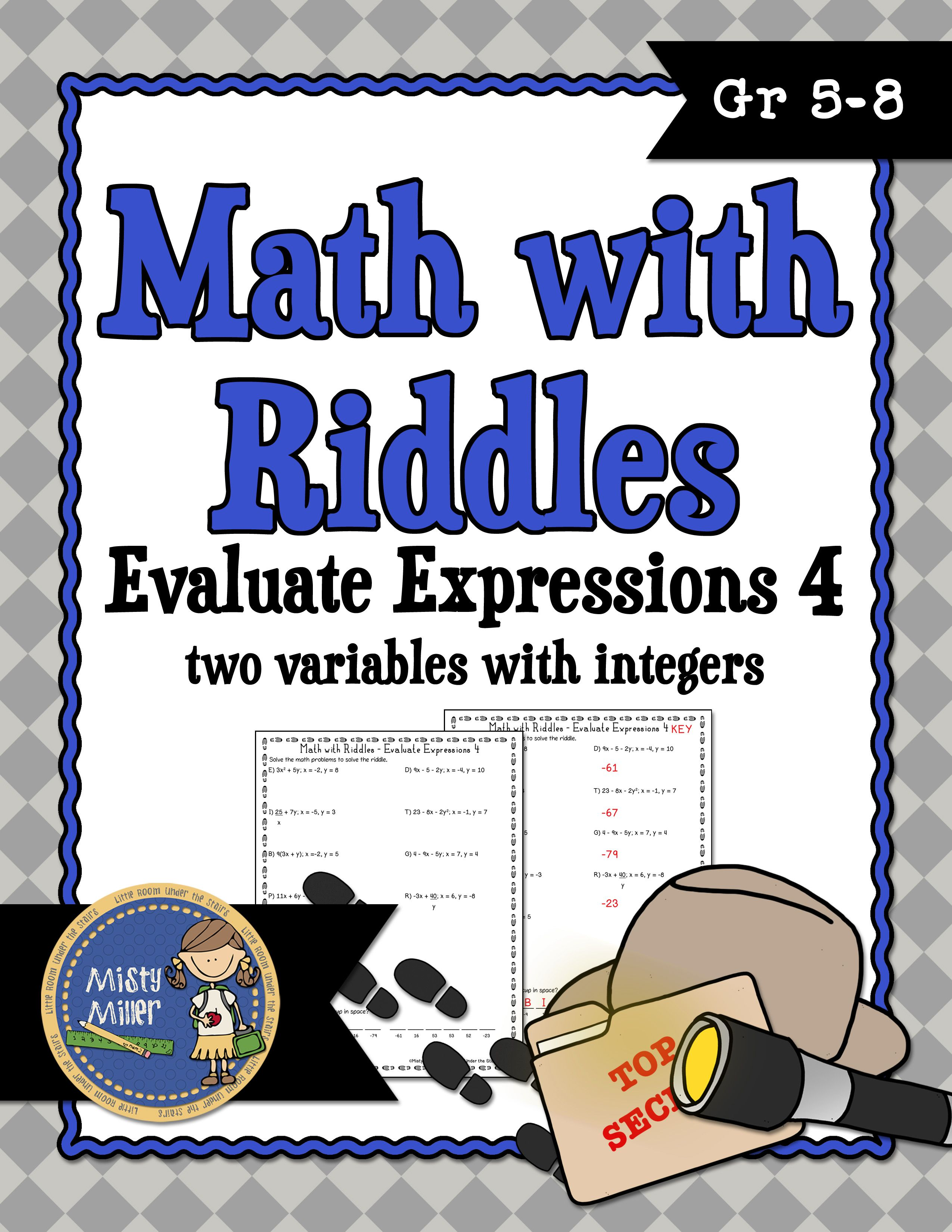 Evaluating Expressions 4 Math With Riddles