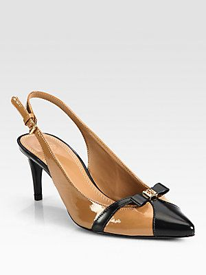 Well suited for work - Tory Burch Samara Patent Leather Slingback Pumps #toryburch