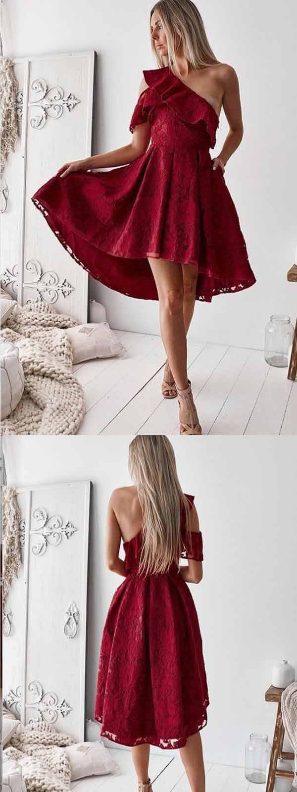的 aline one shoulder hilo red lace homecoming dress short
