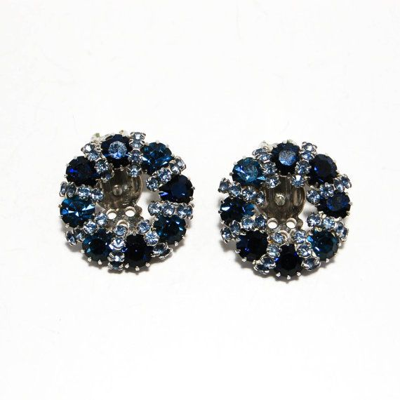 Weiss Rhinestone Earrings Clear and Sapphire Blue