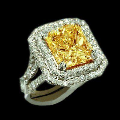 items similar to 5 carat princess cut yellow canary center diamond royal engagement ring on etsy - Yellow Diamond Wedding Rings