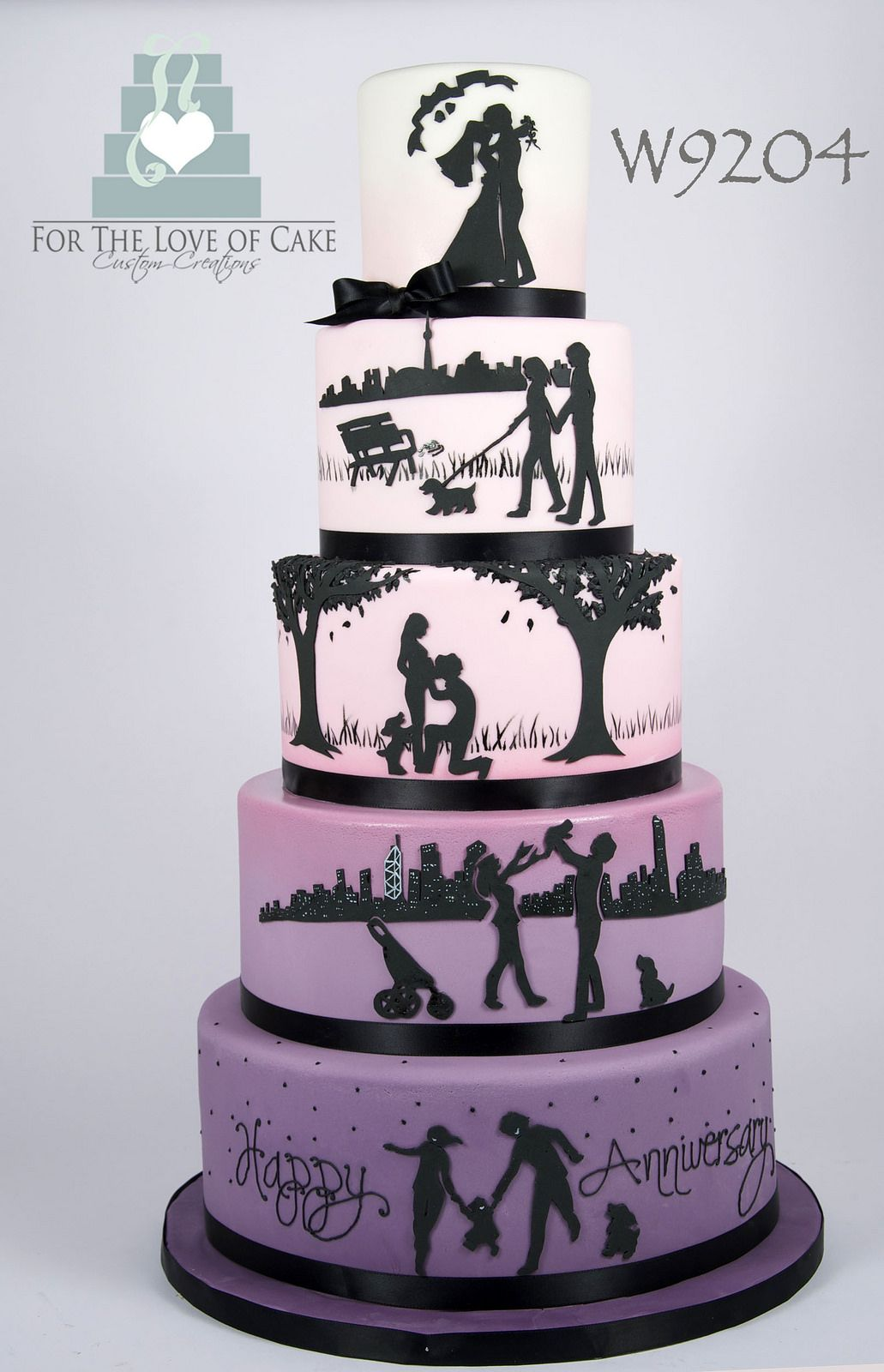 W9204 Ombre Gradiant Love Story Anniversary Silhouette Wedding Cake