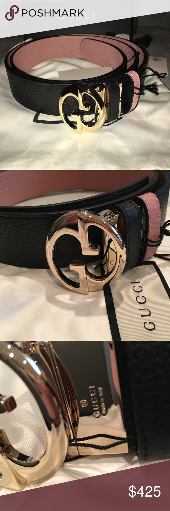 e76539a1f10 Gucci Reversible Belt Unisex 110cm Two belts in one! Authentic and brand  new GUCCI leather