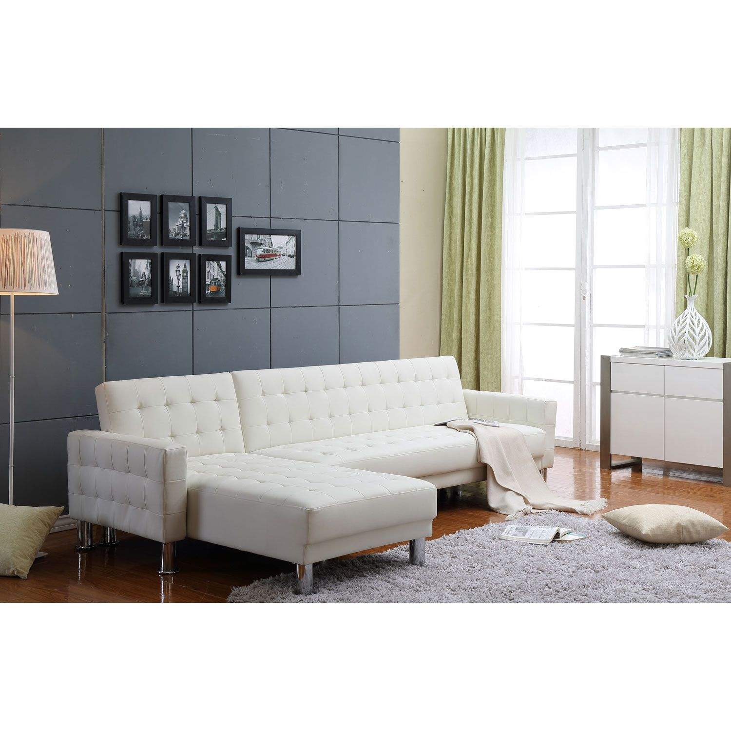 Marsden White Tufted Bi Cast Leather 2 Piece Sectional Sofa Bed Thy Hom Sleeper Sofas