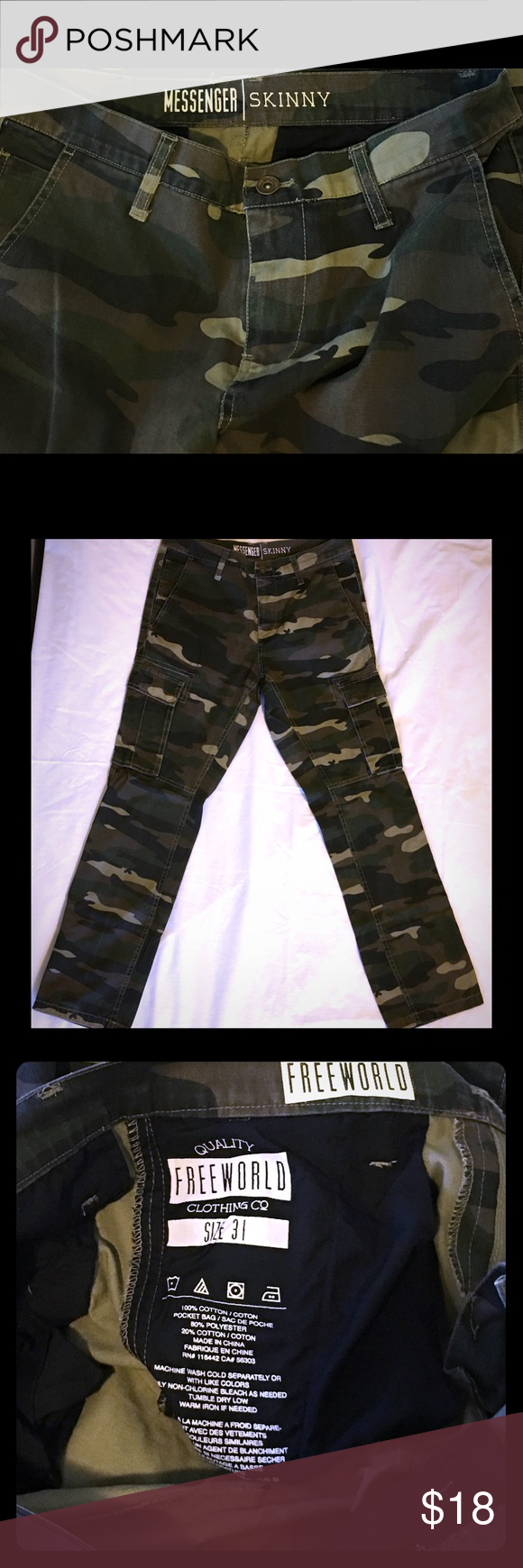 37b088e5 Freeworld Skinny Camo Cargo Pants 31x32 Freeworld Skinny Camo Cargo Pants  31x32 Waist: 31-
