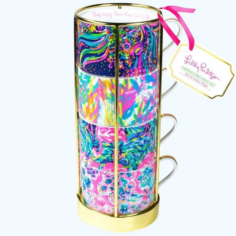 Lilly pulitzer cappuccino mug set of 4 with images