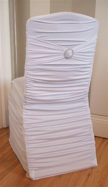 White Ruffled Chair Cover With White Band Amp Bling