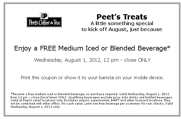image about Peet Coffee Printable Coupon called Cost-free medium consume Midday-stop these days at Peets Espresso Tea