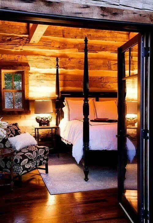 Love the wood tones with the elegant black furnishings