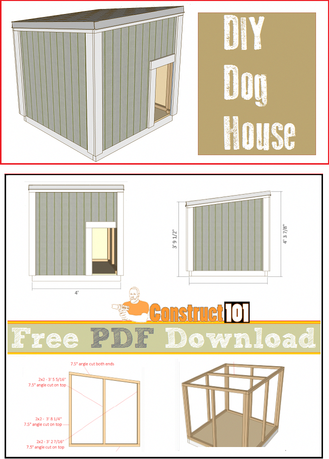 Large Dog House Plans Pdf Download Construct101 Large Dog House Plans Large Dog House Dog House Diy