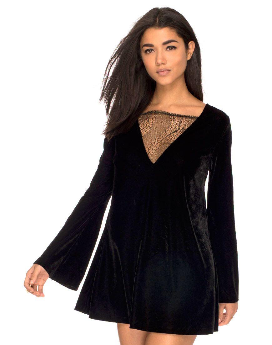 Marvel flared sleeve shift dress in velvet glitter lace by motel at