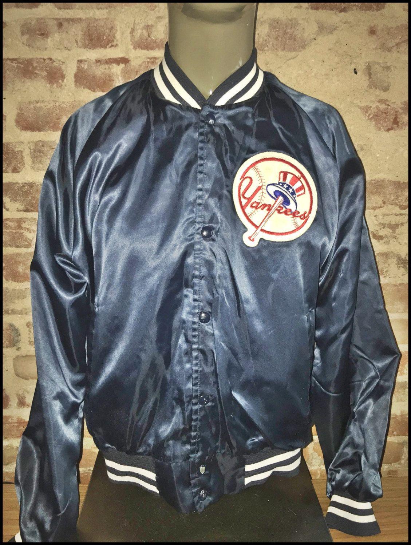 2beb4f4e4 Vintage 80's MLB New York Yankees Chalk Line Satin Jacket - Size ...