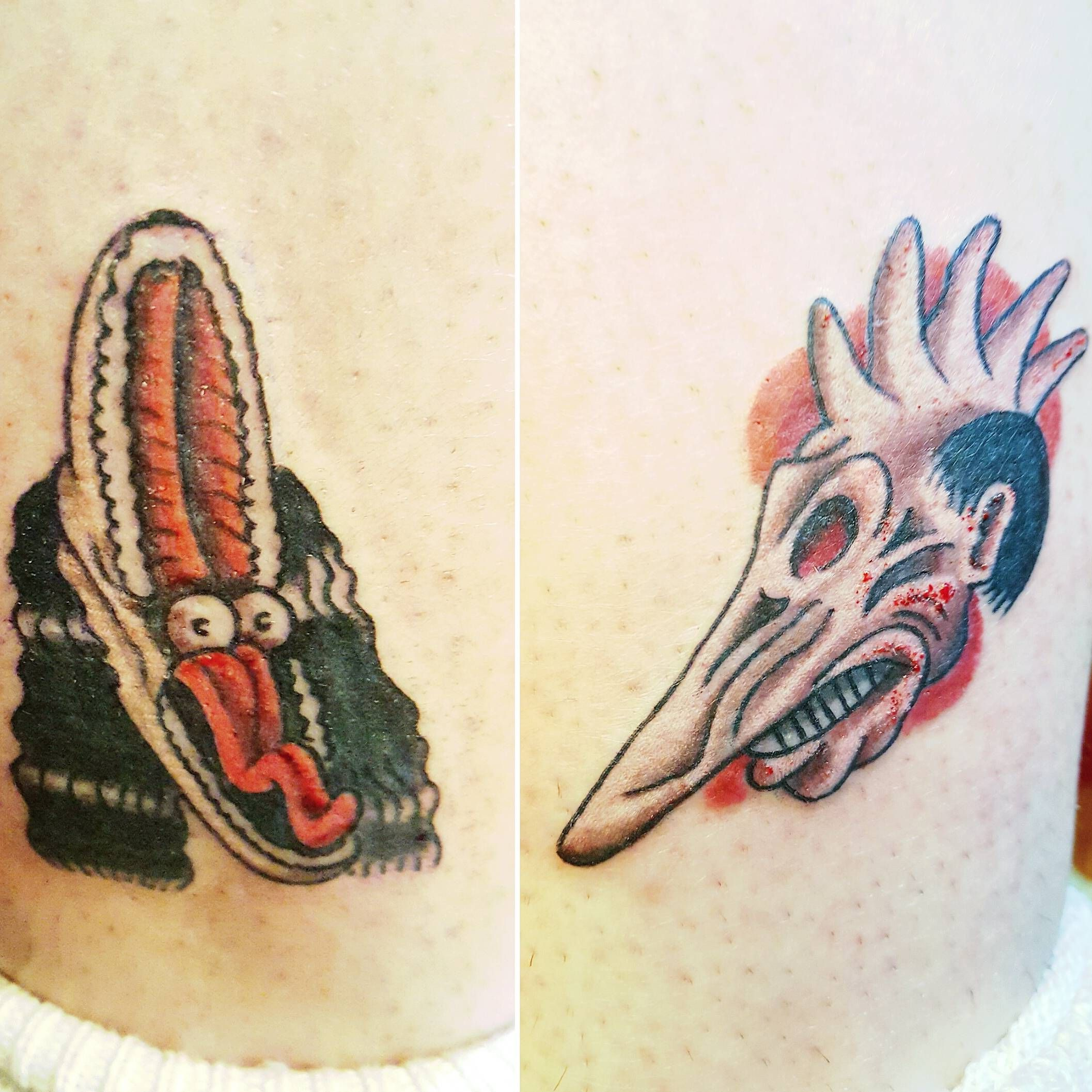 """adam maitland and barbara maitland's """"spooky faces"""" from beetlejuice by dark horse tattoos. done at seattle's crypticon 2016; one on each outer calf."""