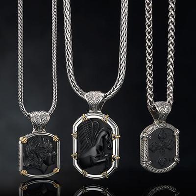 Konstantino 3d Black Onyx Cross Sterling Silver Mens Necklace Pendant Mens Silver Necklace Mens Necklace Pendant Mens Jewelry