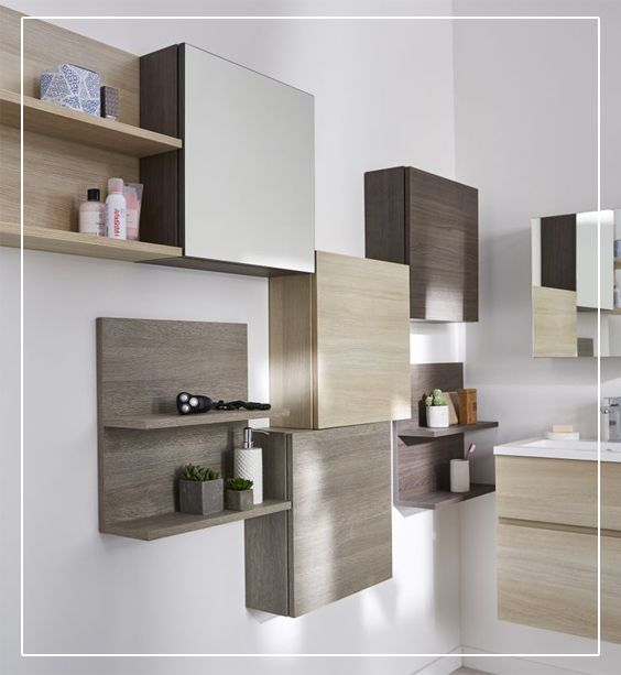 cube mural design calao avec porte d cor ch ne clair pour. Black Bedroom Furniture Sets. Home Design Ideas