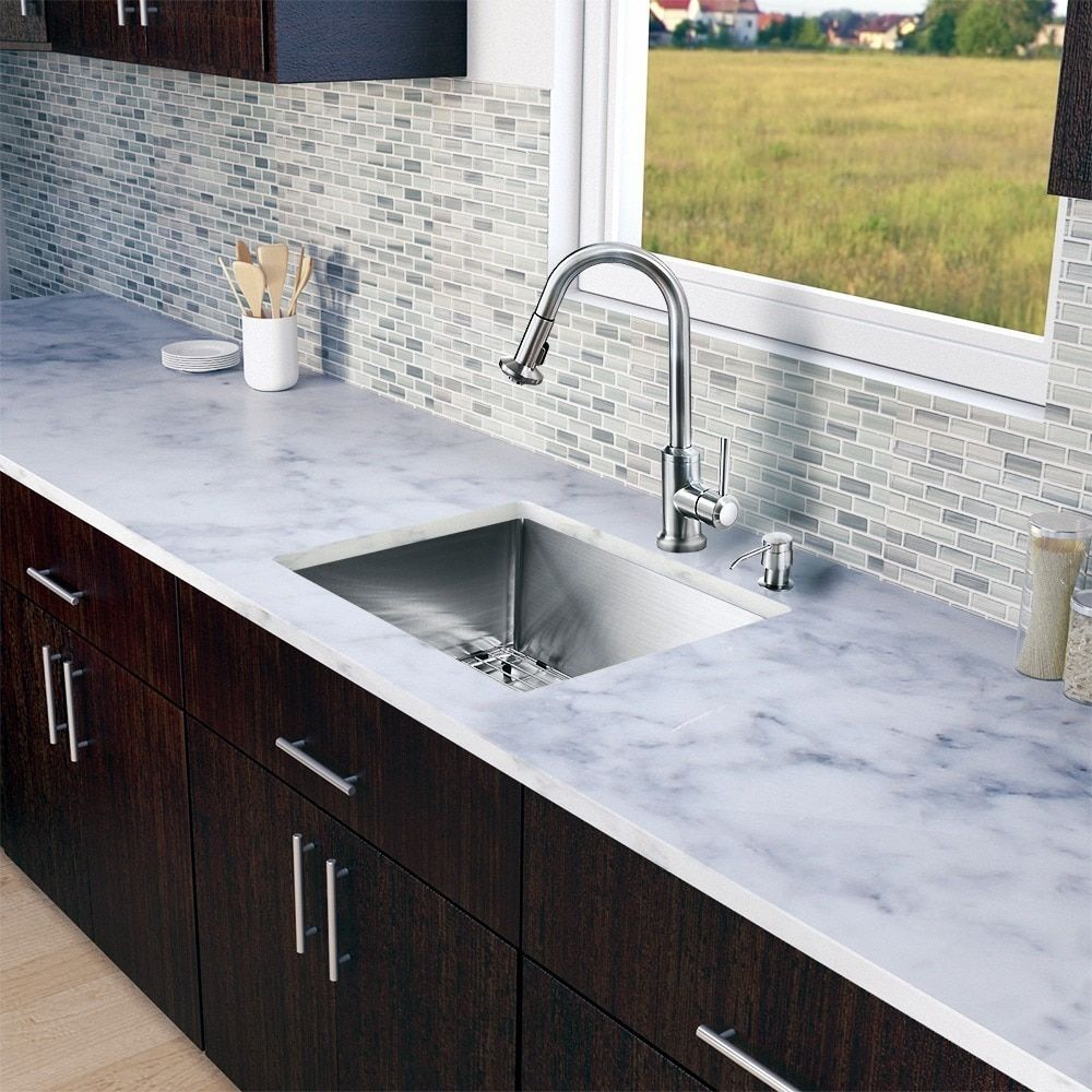 Vigo All-in-One 23-inch Stainless Steel (Silver) Undermount Kitchen Sink and Astor Stainless Steel Faucet Set
