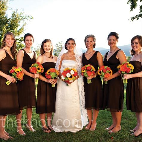 Brown Bridesmaid Dresses With Orange Yellow And Green Bouquets