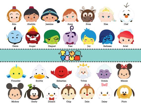 Disney Tsum Tsum Clipart 9: 65 TSUM TSUM DISNEY CHARACTER DIGITAL FILES This Listing