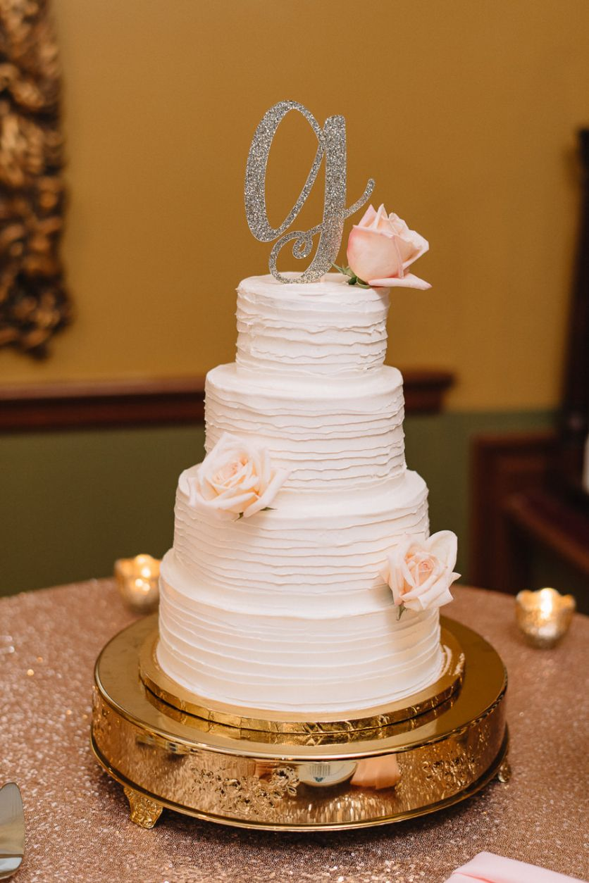 Elegant And Romantic 4 Tier Round Textured Wedding Cake From Tampa Bay  Bakery A Piece Of Cake On Gold Serving Platter With Blush Roses And Stylish  Glitter ...