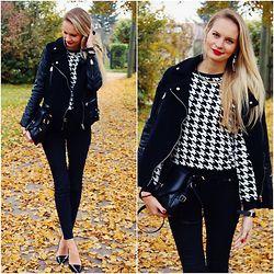 Madara L - Black Leather Sleeved Coat, Foymall Houndstooth Print Sweater, Rosewholesale Black Bag, H&M Black Skinny Jeans, Quiz Clothing Black Patent Heels - Fall wonderland