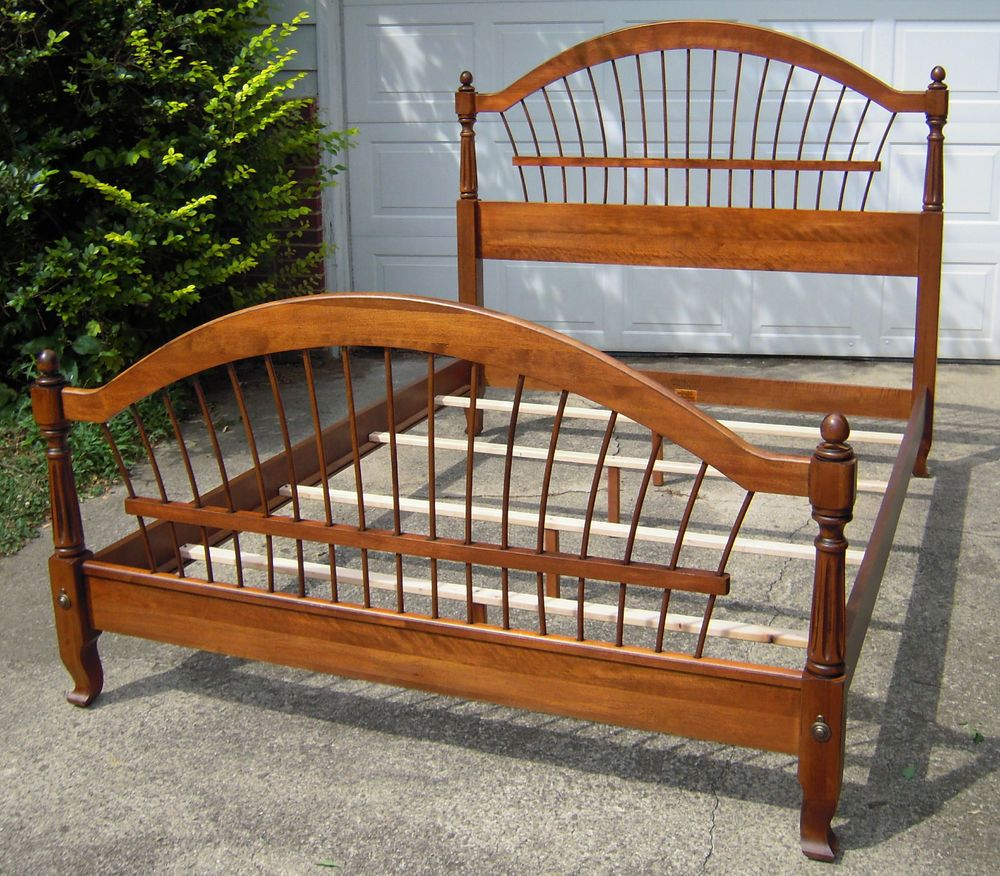 Ethan Allen Country French Collection Bordeaux Wheatback Bed Solid Wood Queen Ethlen Frenchcountry