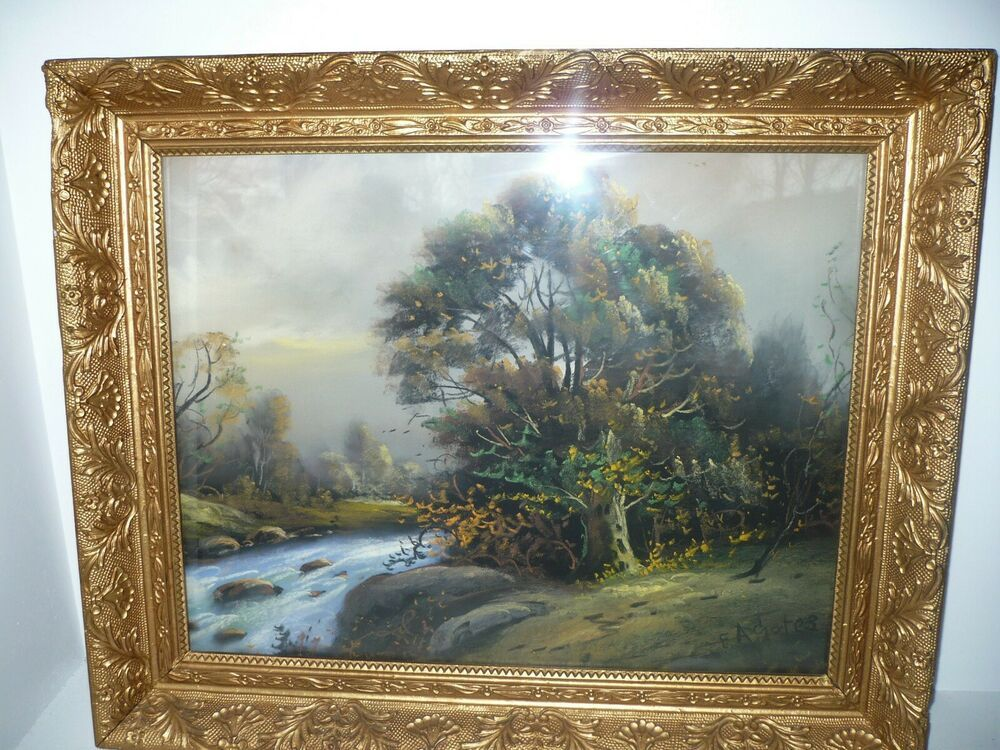 Vintage Original Pastel Painting Under Glass Signed Edwin E A Gates Landscape Vintage Painting Pastel Painting Original Pastel