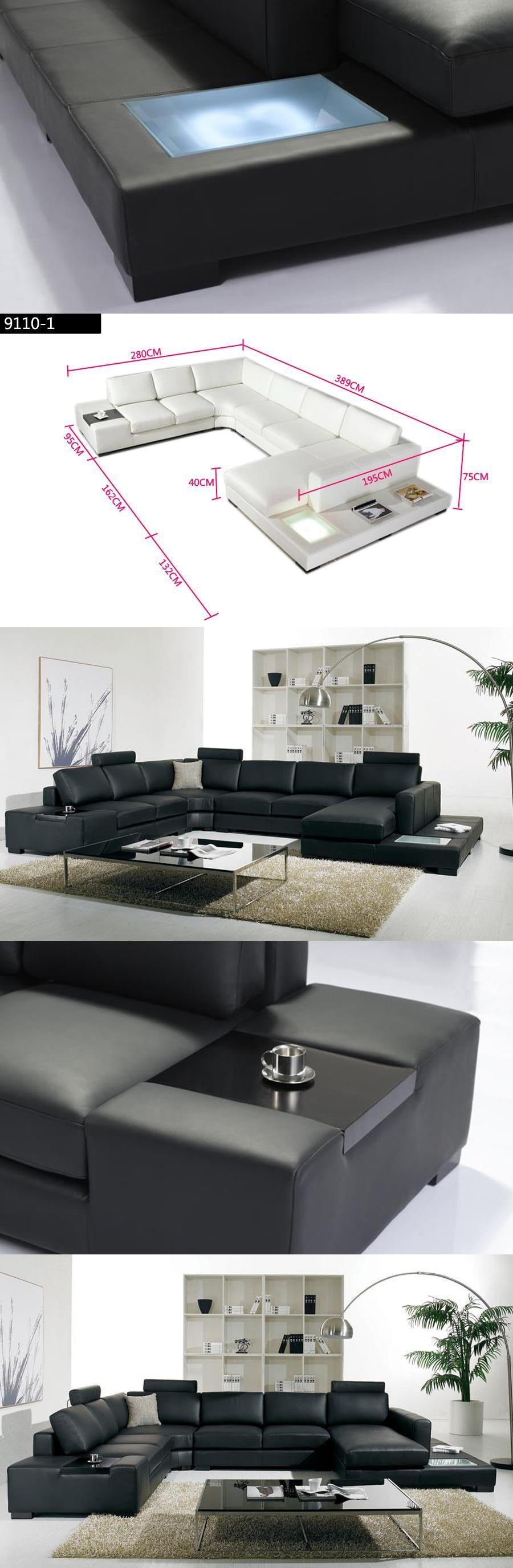 Black Leather Sofa Modern Large Size U Shaped Sofa Set With Light  ~ Black Leather U Shaped Sofa