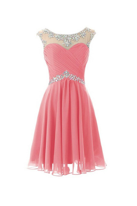 Cap sleeves beaded pink short promhomecoming dresses graduation