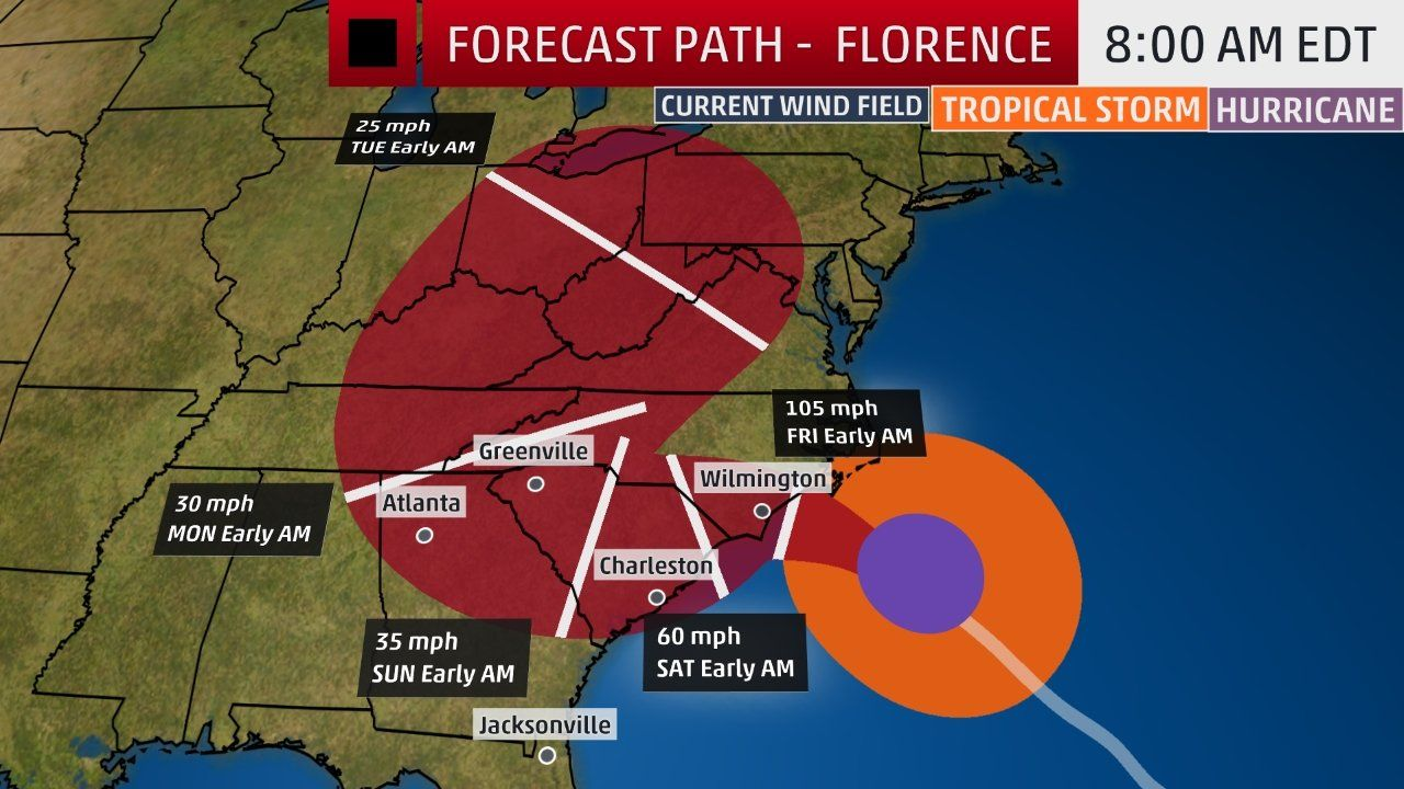 Hurricane Florence Bringing More Than 10 Feet Of Surge To Eastern North Carolina Catastrophic Flash Flooding Hurricane Storm Surge Hurricane Safety
