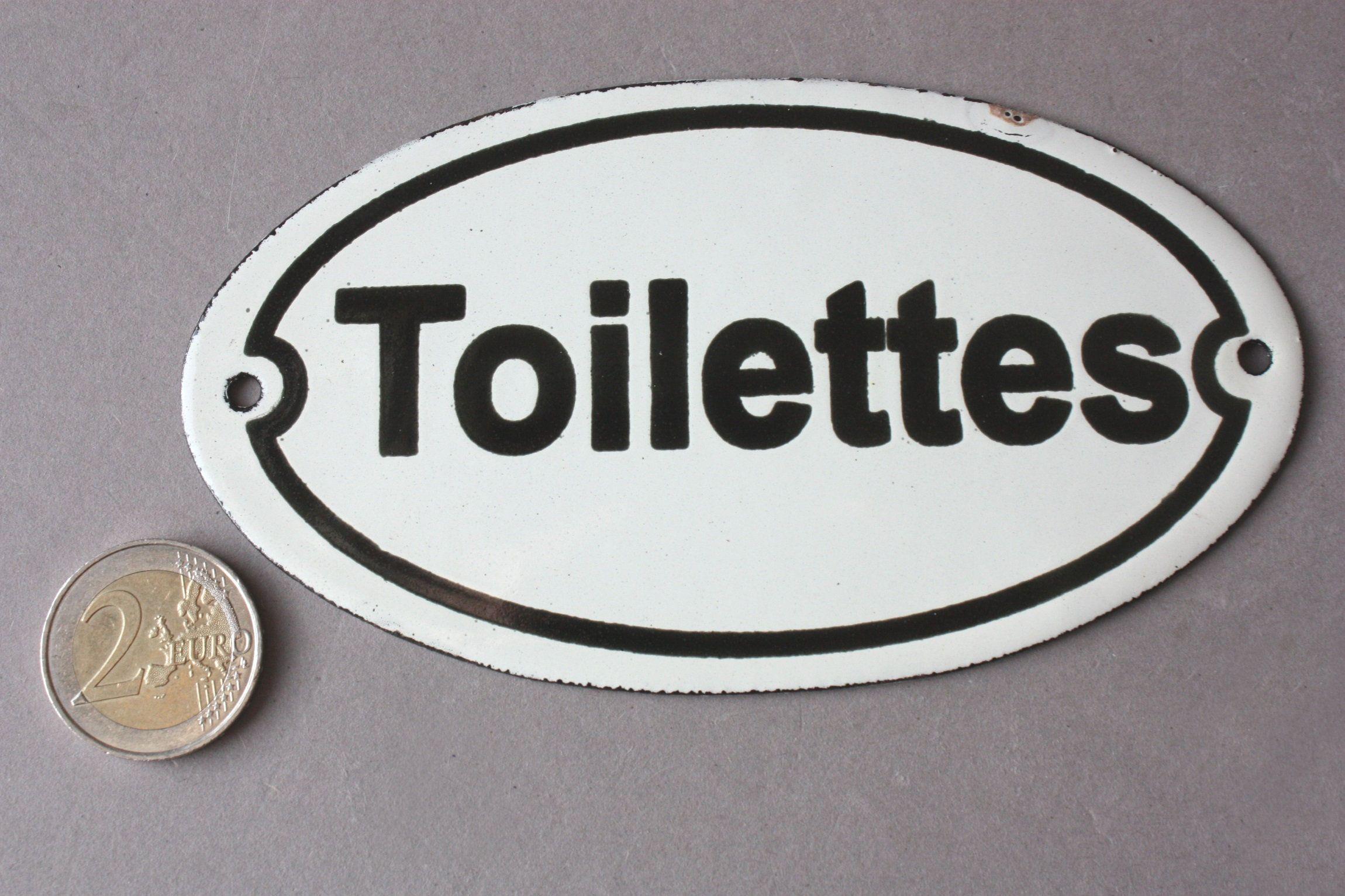 Toilettes Emaille Schild Shabby Emailleschild Toilette Vintage
