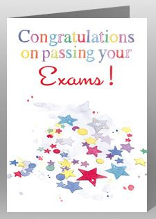 CONGRATULATIONS ON YOUR EXAM RESULTS CARD GCSE A LEVEL WELL DONE PASSED STUDY