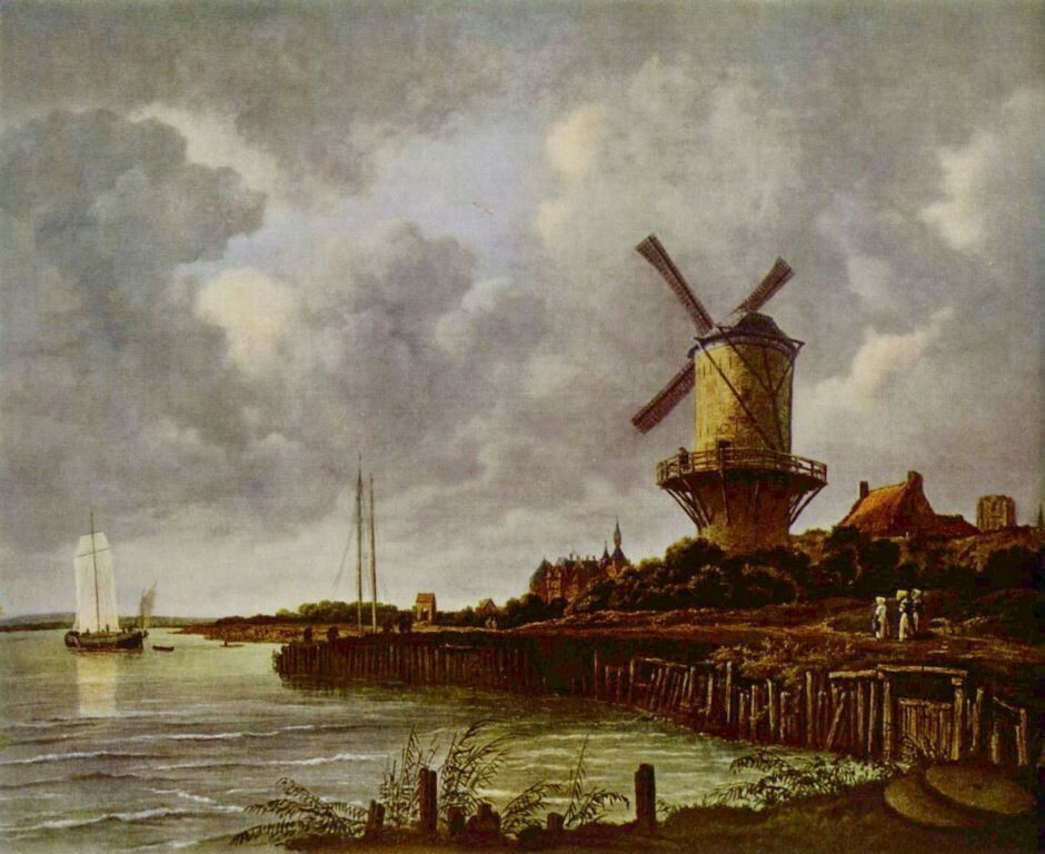 Landschaftsmalerei barock  Jacob Isaaksz. van Ruisdael. Mühle von Wijk bei Duurstede. 1670 ...