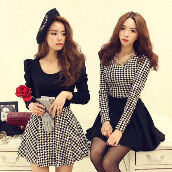 Fashion sexy grid dress Cute Kawaii Harajuku Fashion Clothing - clothing sponsorship