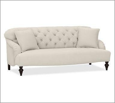 Clara Upholstered Apartment Sofa, Polyester Wrap Cushions, Brushed Canvas Natural 75x 38   $1600