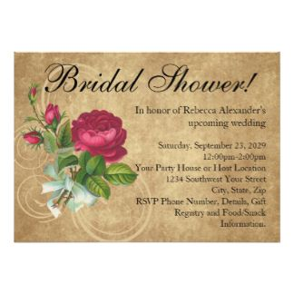 Elegant Vintage Rose Bridal Shower Invitation