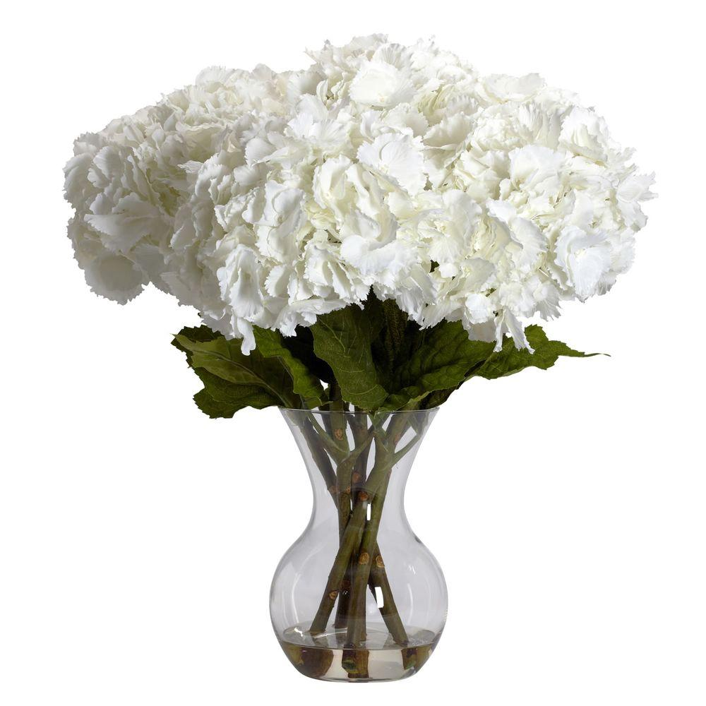 Nearly Natural 23 In H White Large Hydrangea With Vase Silk Flower Arrangement 1260 The Home Depot Hydrangea Flower Arrangements Flower Vase Arrangements Hydrangea Arrangements