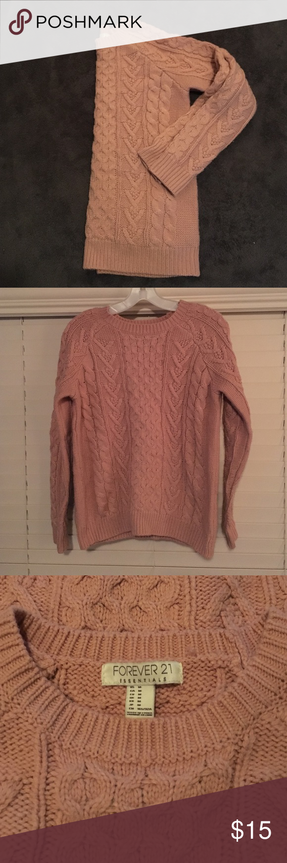 Chinky knit sweater Final price! EUC thick, chunky light pink ...