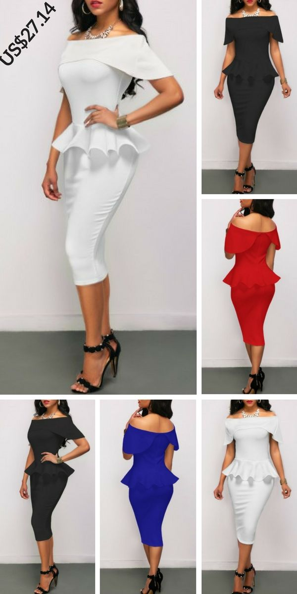 2cd230f7eea Off the Shoulder Peplum Waist White Pencil Dress,on sale only US$27.14 now