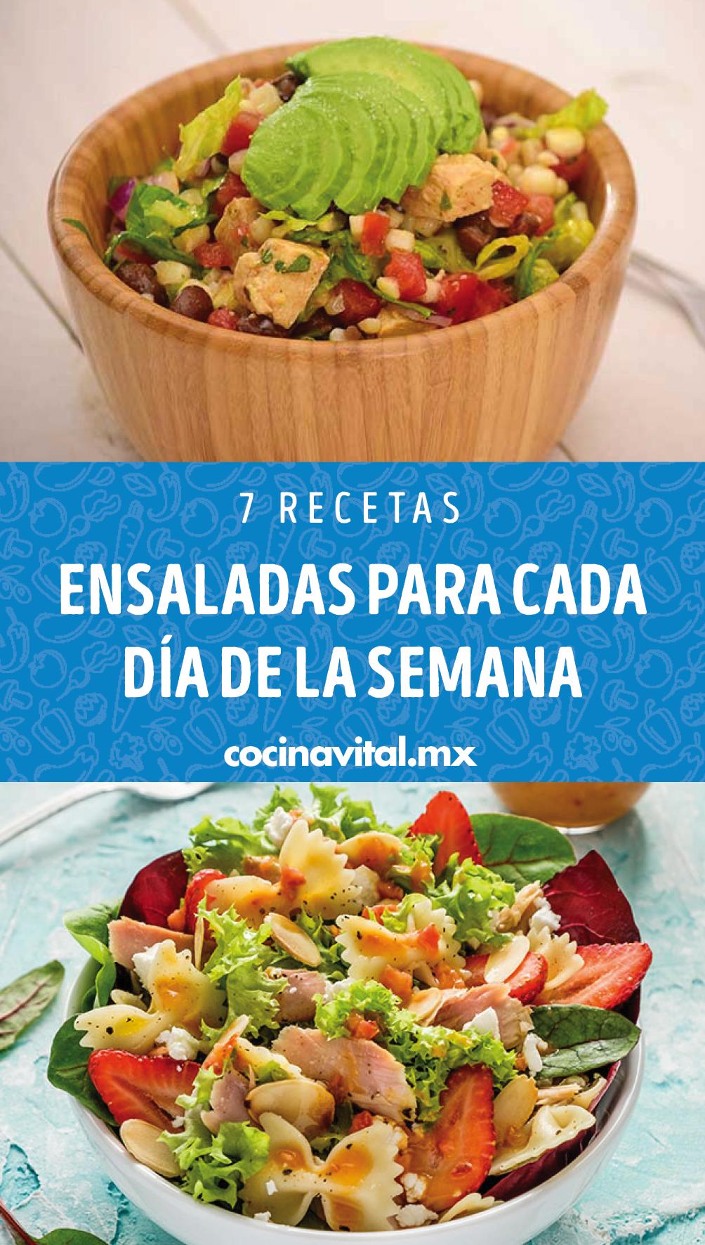 7 Recetas De Ensaladas Para Cada Dia De La Semana Cocina Vital Que Cocinar Hoy En 2020 Recetas De Comida Saludable Comida Saludable Ensaladas Recetas De Comida Faciles
