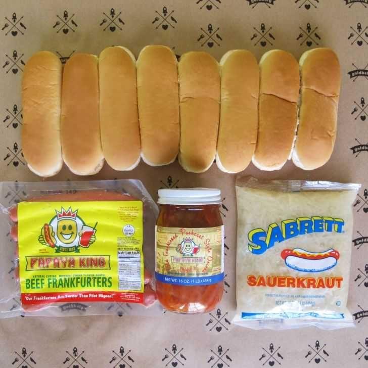 Papaya king 12 dogs with the works hot dog buns cake