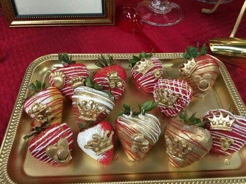 Red White Gold King Theme Strawberries. StrawberriesBabyshowerShower ...