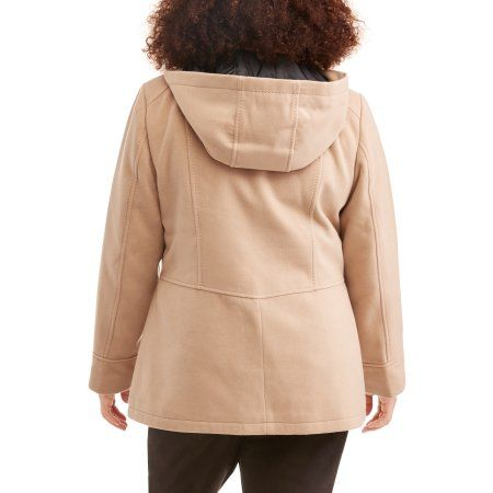 ed1cca78db Faded Glory Woman s Plus Size Double-Breasted Faux Wool Peacoat With Hood