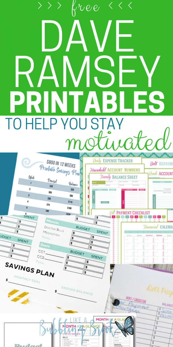 Dave Ramsey Printables To Help You Stay Motivated