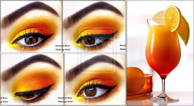 Dramatic makeup to go with your summer drinks. Tequila sunrise!