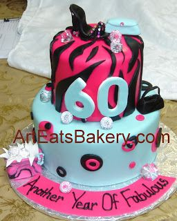 Two tier hot pink Tiffany blue and black fondant diva 60th birthday