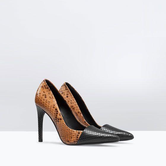 Leather Dames Shoes Zara Leren Slangenprint Court Met Pump B4pp7qwY
