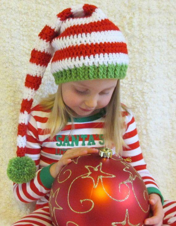 81530fad4fb Christmas Crochet Long Tail Elf Hat Red